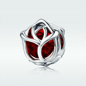 Fine-925-Sterling-Silver-Charm-Bead-Red-Rose-With-Crystal-For-Bracelet-Jewelry
