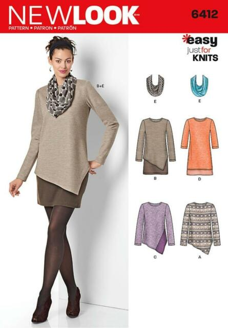 Look 6412 Sewing Pattern Misses Easy Knit Dress And Tunics With
