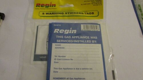 Regin regp 10 Cet appareil à gaz était desservi par Compartiment Autocollant Étiquettes X8