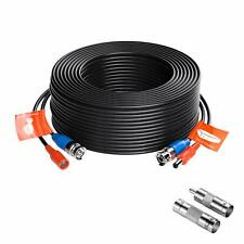 ZOSI CCTV Security Camera BNC Cable 100ft Wire Cord Video Power Cable Black