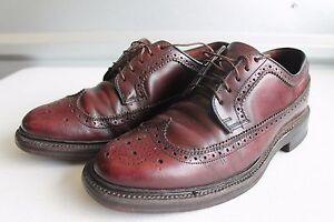 Men-039-s-Vintage-Crown-Windsor-Burgundy-Leather-Wing-Tip-Oxfords-Sz-7-D