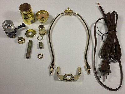 "Table Lamp Wiring Kit ~ 3 WAY Socket ~ 8/' Cord ~ 11/"" Harp ~ POLISHED BRASS"