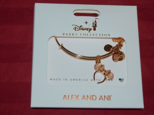 Disney Parks ALEX /& ANI Pink Rose Gold Minnie Ears Headband Bangle Bracelet NEW