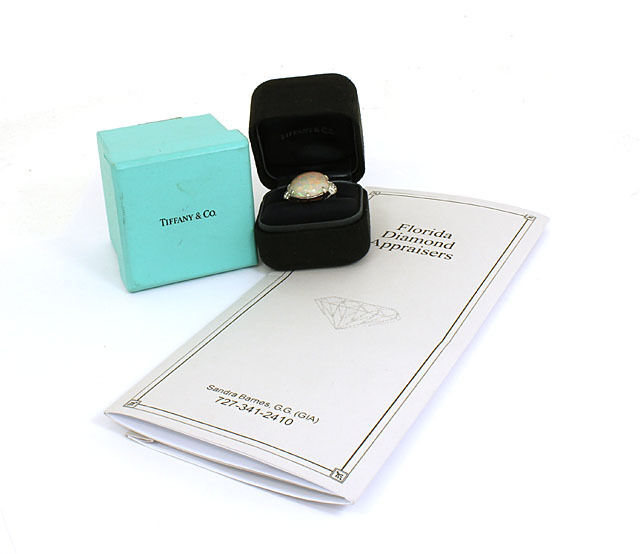 Tiffany & Co. Diamonds Platinum 16.49ct Opal Cocktail Ring w/Box & Appraisal