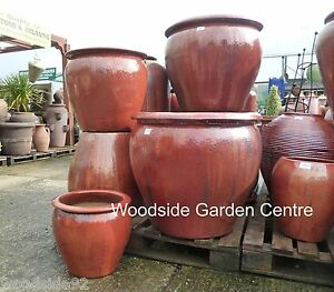 extra large pots and large copper red glazed pot tree garden planter ebay. Black Bedroom Furniture Sets. Home Design Ideas