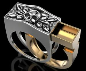 ed7582b32069f Secret Compartment Skull Ring 925 Sterling Silver White & Yellow ...