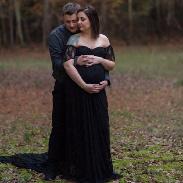 Schwangerschafts Umstandskleid Fotoshooting Spitzenkleid Maxikleid Umstandsmode