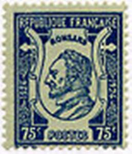 "Francia Stamp Sello Yvert N º 209"" Poeta Pierre Ronsard 75C Azul "" Nueva Xx"