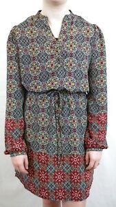 Alya-Women-039-s-Size-M-Long-Sleeve-Black-White-amp-Red-Sheath-Dress-Elastic-Waist-D