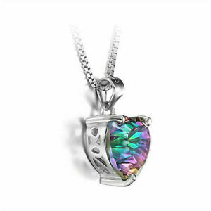 Mystic-925-Silver-Rainbow-Chain-Heart-shaped-Pendant-Topaz-Necklace-Gift-Jewelry