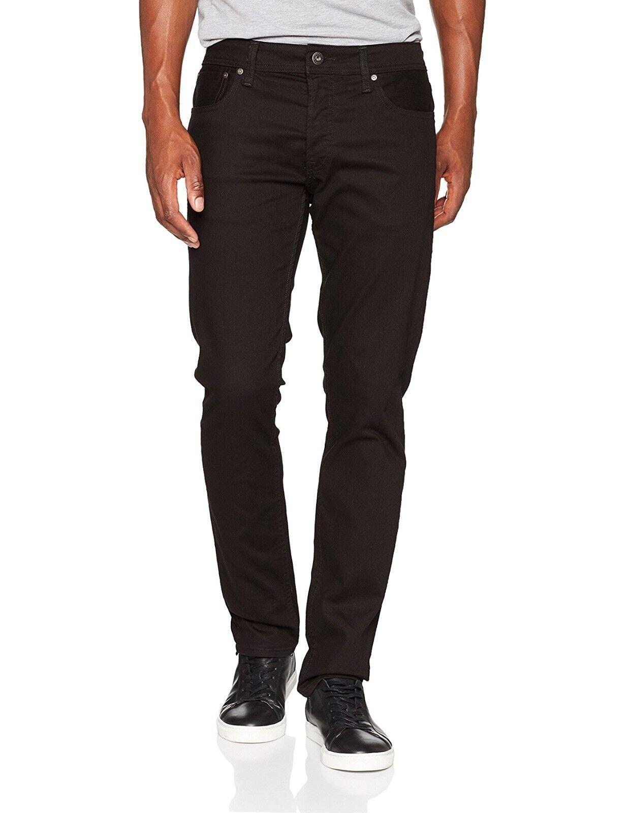JACK & Jones Jeans Uomo TIM TIM TIM slim fit Stretto Gamba Affusolata Denim Pantaloni Nero Elasticizzato 2db804