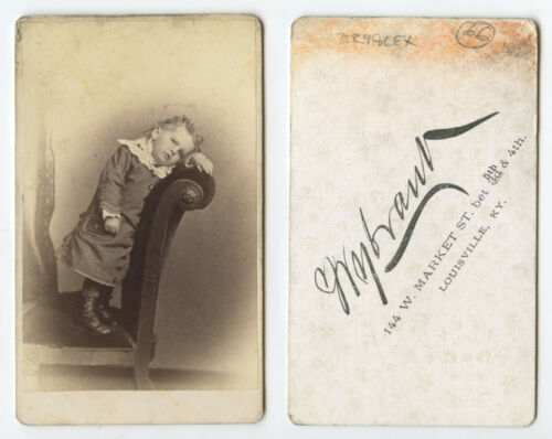 CDV STUDIO PORTRAIT CUTE CHILD POSING ON CHAIR FROM LOUISVILLE, KY