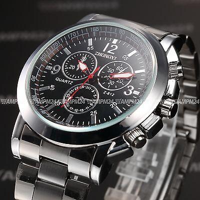 New Fashion Mens Silver Stainless Steel Sport Analog Quartz Military Wrist Watch