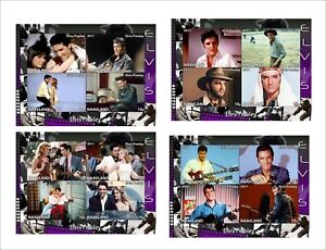 ELVIS-PRESLEY-movies-4-SOUVENIR-SHEETS-MNH-UNPERFORATED-music