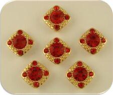 "2 Hole Beads ""Gala"" w/ Red Siam Swarovski Crystal Elements GOLD ~ Sliders QTY 6"