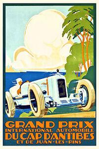 Vintage Art Deco Grand Prix De France Poster Antibes Juan Les Pins 20s Motor Racing-afficher Le Titre D'origine