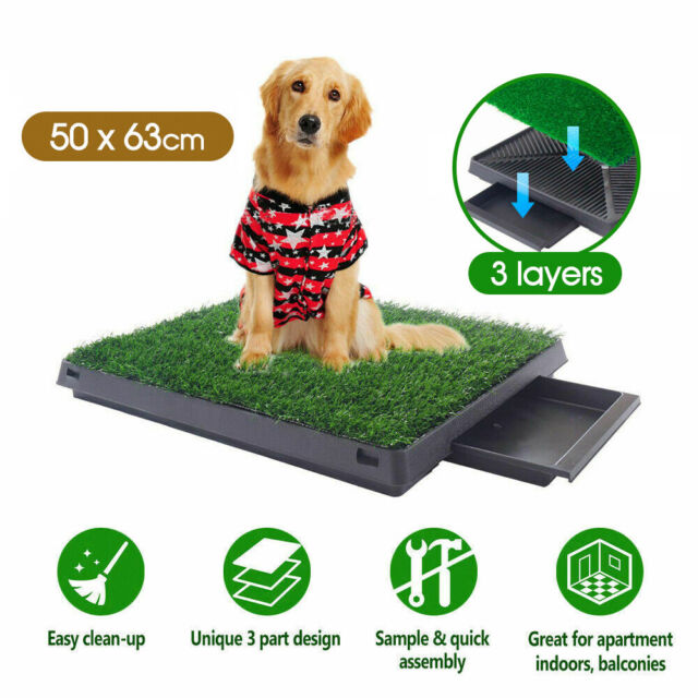 Indoor Dog Pet Potty Training Portable Toilet Large Loo Tray 1/2/4 Grass Mat AU