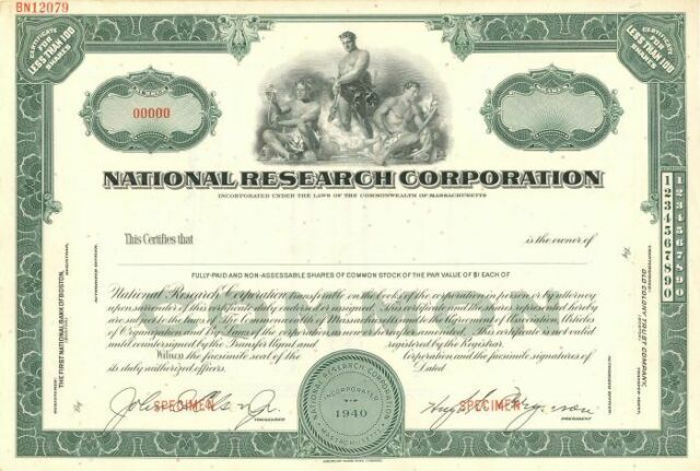 research corporation national certificate