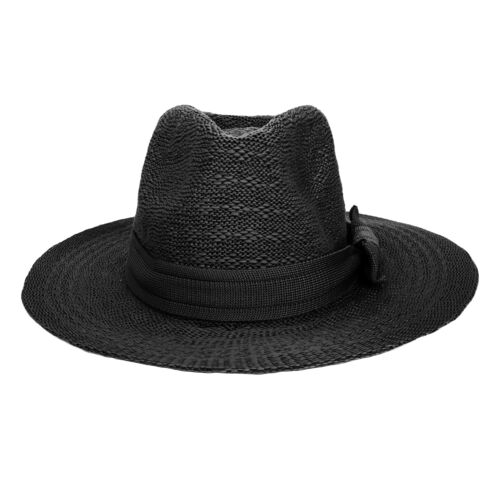 Aerusi Men Women Unisex Fedora Trilby Wide Brim Straw Sun Hat Summer Beach Cap