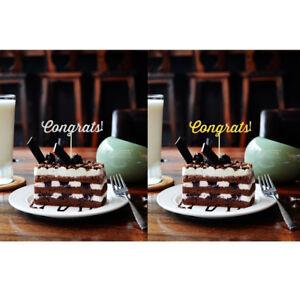 20x Congrats Cake Topper Graduation Wedding Retirement Party Cupcake Pick Sticks