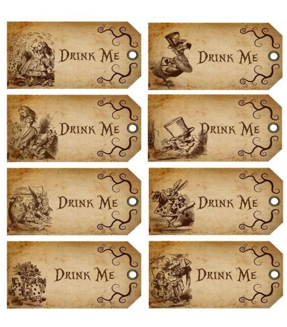 Drink me labels printable pictures to pin on pinterest for Alice in wonderland tags template