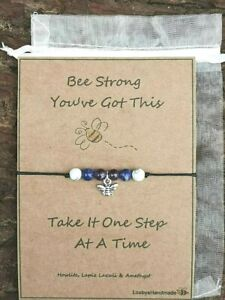 ANXIETY SUPPORT BRACELET BE STRONG STRESS RELIEF HEALING GEMSTONE GIFT CARD UK