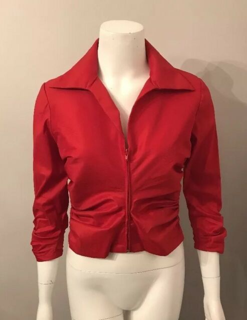 3a9c134235263 Stunning Tadashi Petite Red Ruched Front Zip Up Blouse Cruise Size 10P