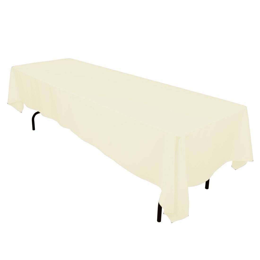 10 pcs 60  x 126  Ivory Rectangle Polyester Tablecloth Bulk for Weddings Party