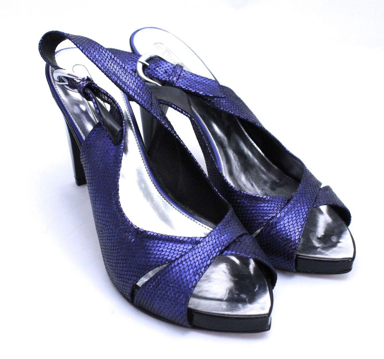 Gracienne Heels Stiletto Blau Snakeskin Leder Slingback Peep Toe Platform NEU