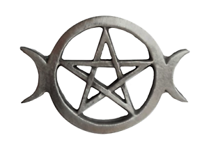 Pentagram & Moons Triple Goddess Pagan Priestess Pewter Brooch