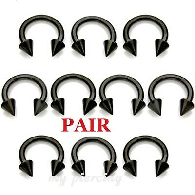 "8g~1/2"" Dia Anodized Steel Horseshoe Circular Barbell Ears Septum Fine Workmanship 2pcs 12g 10g"