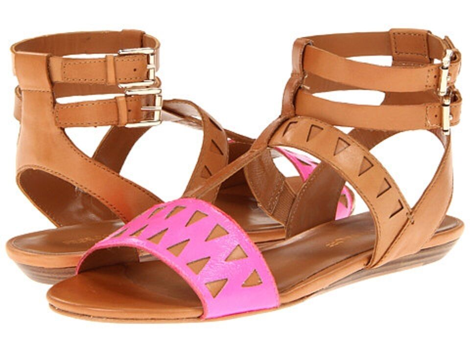 NEW Rebecca Minkoff Barb US 9 Pink Brown Leather Gladiator Strap Sandals shoes