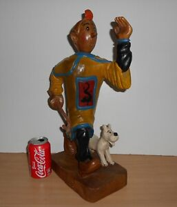 Details About Tintin Bois Tim Struppi Lotus Hand Carved Wooden Figur Figure Figurine 48cm Tall