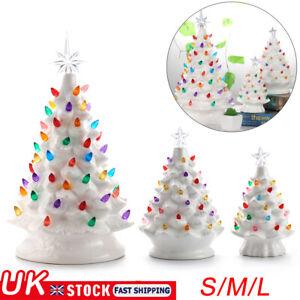 New Christmas Retro Nostalgic Ceramic Christmas Tree WHITE Light Up Decor AU