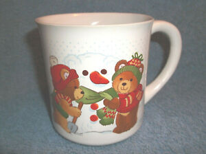 VINTAGE-PARTY-BEARS-CERAMIC-COLLECTIBLES-COFFEE-CUP-MUG-APPLAUSE-1984-JAPAN-2720