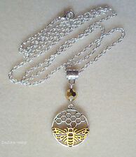 "Pretty Golden and Silver Bee Crystal Bead Pendant 26"" Chain Necklace in Gift Bag"