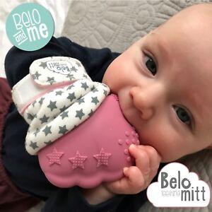BELO TEETHING MITT   Pink Baby Teething Glove for Baby 3+ Months ... 8e2bb94bdc1