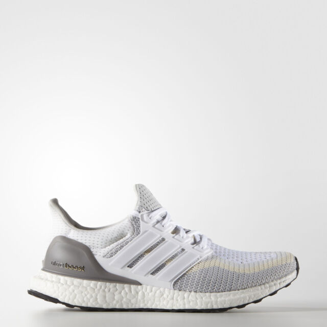 7f2b87e89a36ef adidas Ultra Boost 2.0 Mens White Grey Running Shoes Trainers AQ4007 Size 8