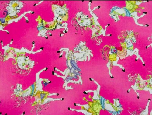 "Loralie Harris Designs CAROUSEL ""TOSSED HORSES"" Fabric Pink 100/% Cotton RARE OOP"