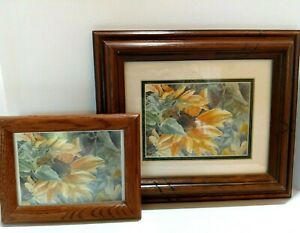 Original-Watercolor-Paintings-Yellow-Sunflowers-Signed-by-Artist-Framed-Set-of-2