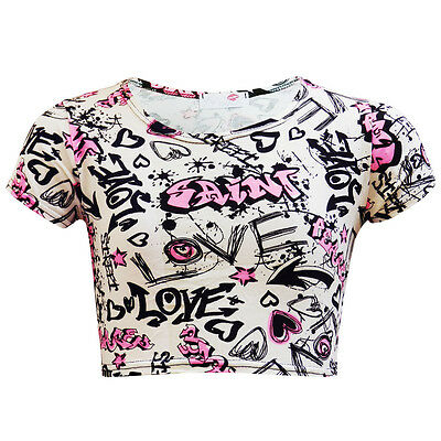 GIRLS KIDS GRAFFITI CROPPED TOP CROP SCRIBBLE PINK COMIC AGE 7 8 9 10 11 12 13
