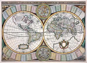 Decorative Reproduction Vintage Old Color Colour Antique Visscher World Wall Map