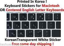 Korean White Transparent Keyboard Sticker for Mac or Centered Windows keyboards