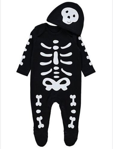 Baby Boys Halloween Skeleton All in One and Hat Fancy dress costume Outfit
