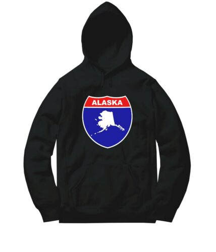 US State Alaska Interstate Highway Route Shield Sweater Jacket Pullover Hoodie