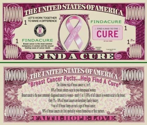 100 Novelty Find a Cure for Cancer Million Dollar Bills--New