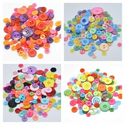 DIY Sewing Mixed Resin for Apparel Scrapbook Crafts Buttons Round 100Pcs Size