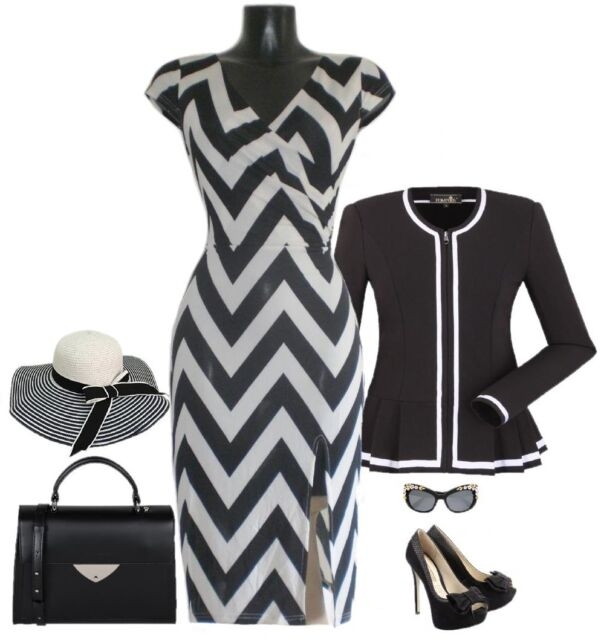 Jersey -Stretch -Business Kleid weiß schwarz M 38/40