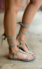Free People Dahlia Lace-Up Sandals size 39 new in box Dove Gray