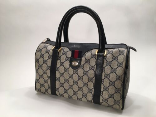 Vintage 1980's GUCCI Boston Bag Navy/Gray GG Mono… - image 1